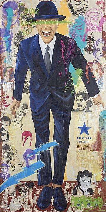 David Bowie, Serie la lógica del desastre (2016), Héctor Ornelas, Óleo sobre tela, 200 x 100 cm