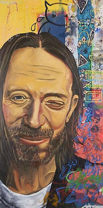 Thom Yorke, Serie la lógica del desastre (2016), Héctor Ornelas, Óleo sobre tela, 200 x 100 cm