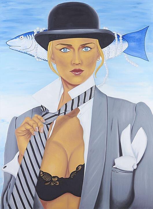 Lo que Hefner soñaba cuando Magritte pescaba, Rene Magritte, Kimberley Conrad (2017)