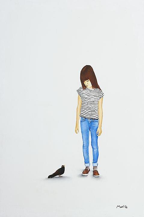 Número 1 (2015) Marisela Peguero, Serie Diálogos, Acrílico sobre madera, 62 x 40 cm