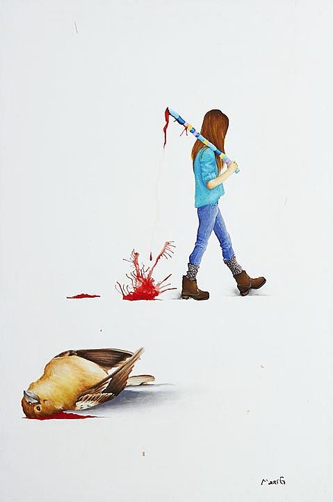 Número 2 (2015) Marisela Peguero, Serie Diálogos, Acrílico sobre madera, 62 x 40 cm