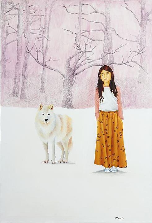 Al otro lado (2016) Marisela Peguero, Mixta sobre tela, 100 x 70 cm