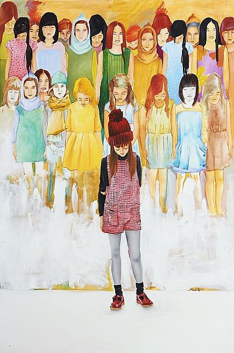 Testigos sordos (2016) Marisela Peguero, Acrílico sobre tela, 120 x 80 cm